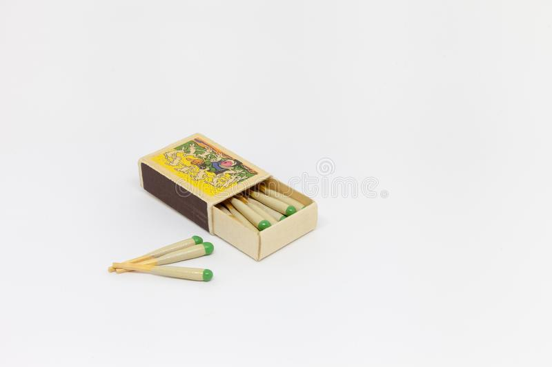 Open box of hunting matches on a white background. royalty free stock image