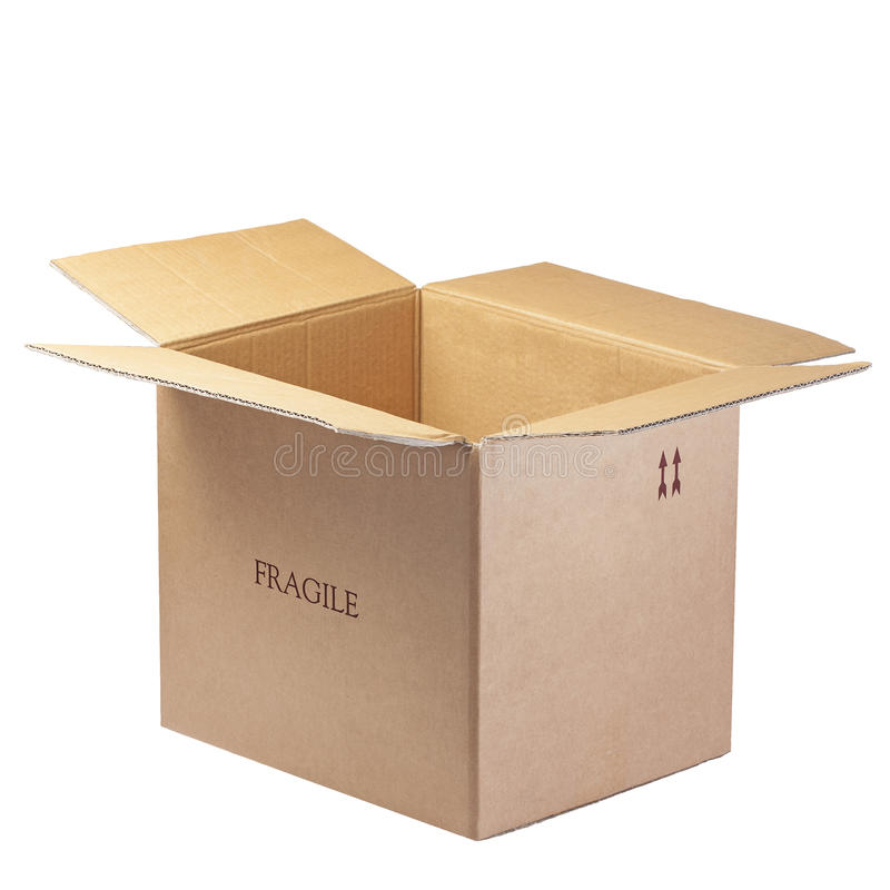 Open Box Isolated Fragile stock photography