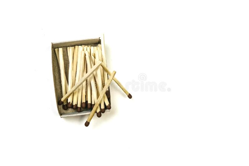 Open box of matches, isolated on a white background stock photos