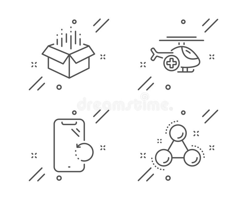 Open box, Medical helicopter and Smartphone recovery icons set. Chemistry molecule sign. Vector stock illustration