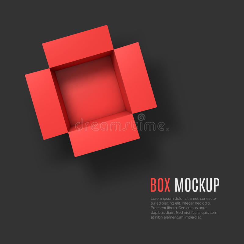 Open box mockup template. Top view royalty free illustration