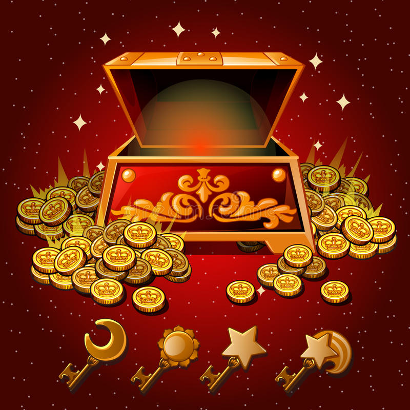 Open box with Royal gold coins and magic keys. Red background royalty free illustration