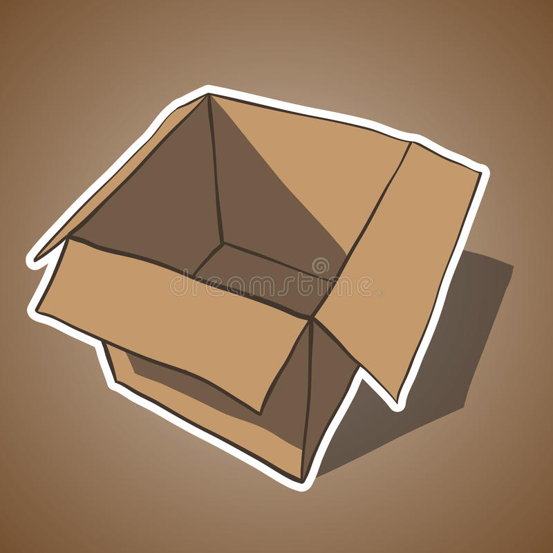 Open box with white outline. Cartoon vector royalty free illustration