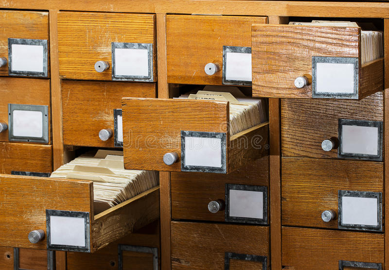 Open boxes in the old archive. Library card or file catalog stock photo