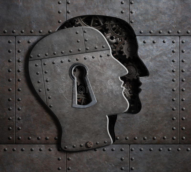 Free Open Brain Door With Metal Gears And Cogs 3d Illustration Stock Photography - 92478512
