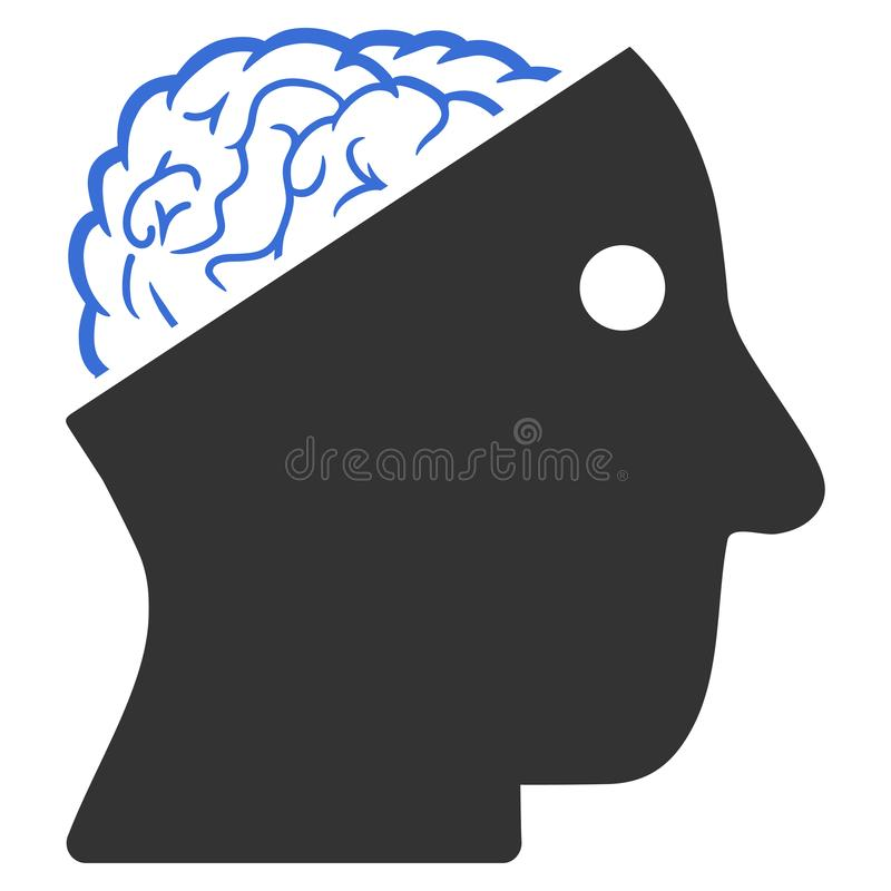 Open Brain Raster Icon stock illustratie