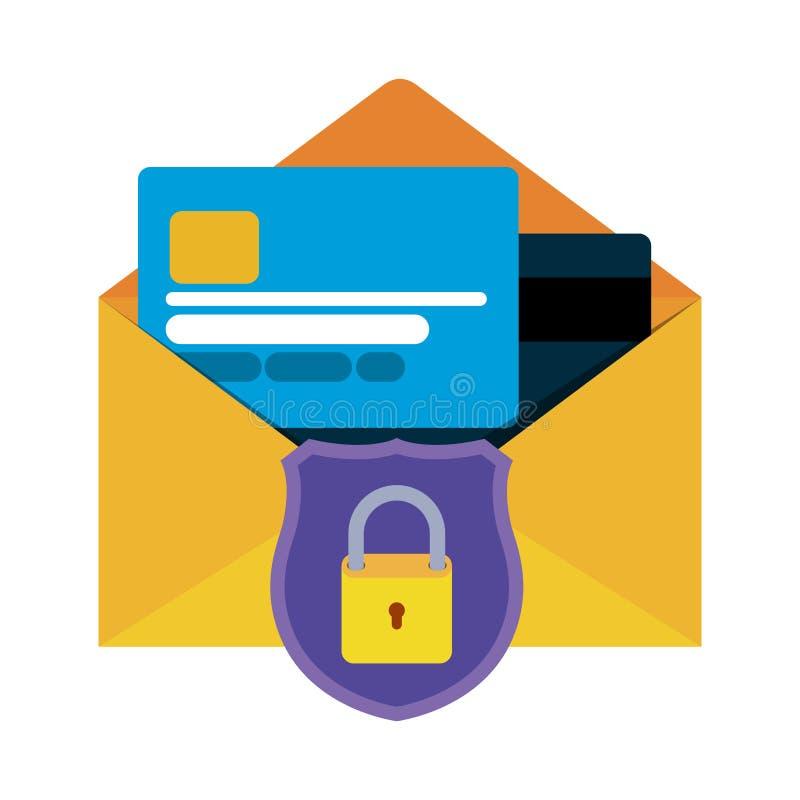 Open brief met creditcard geïsoleerde pictogrammen royalty-vrije illustratie