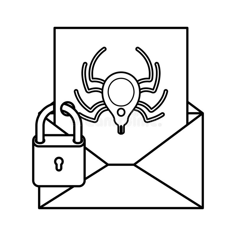 Open brief met spin en hangslot geïsoleerde pictogrammen royalty-vrije illustratie