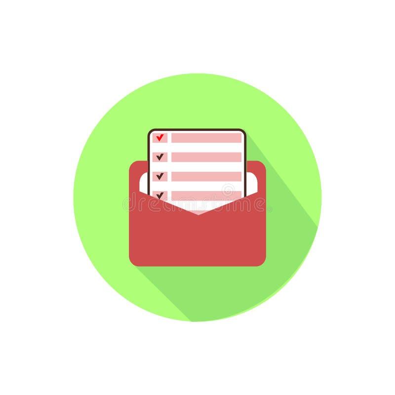 Open brief op een wit in een heldere cirkel stock illustratie