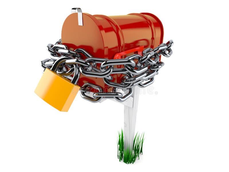 Open brievenbus met ketting en hangslot stock illustratie