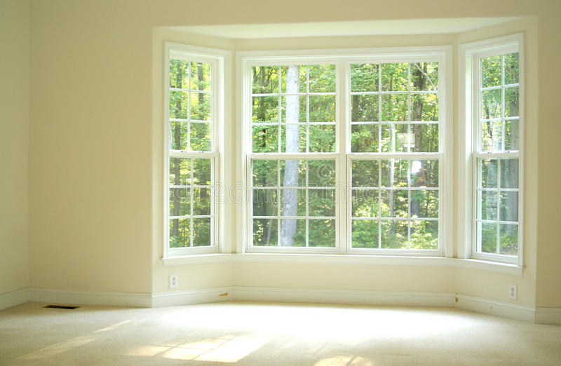 Open And Bright Room With Bay Window Stock Images