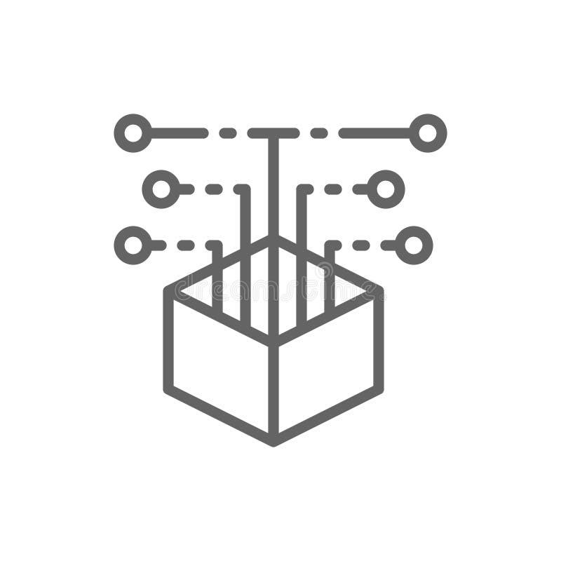 Open broncode, de lijnpictogram van de Webontwikkeling royalty-vrije illustratie