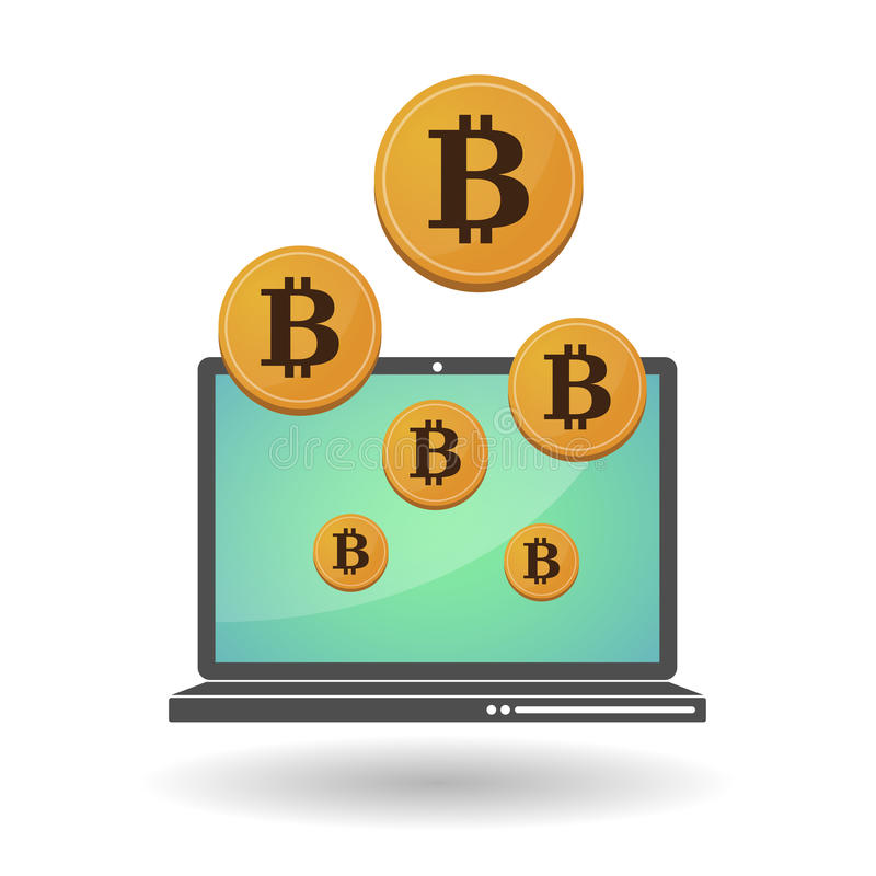 Open-brongeld Bitcoin vector illustratie