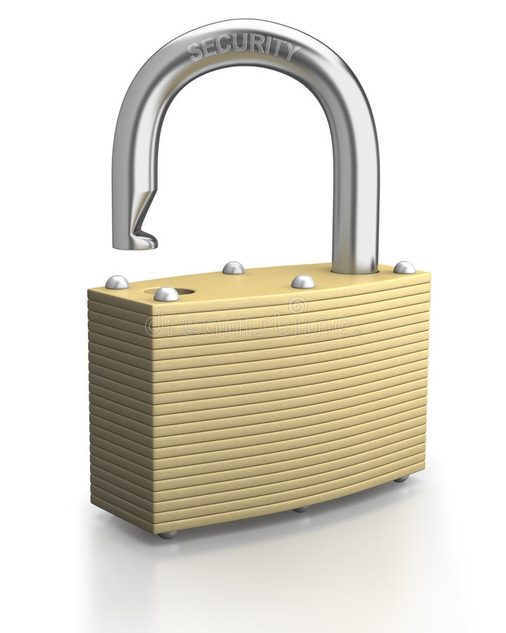 Open bronze padlock on white background stock photos