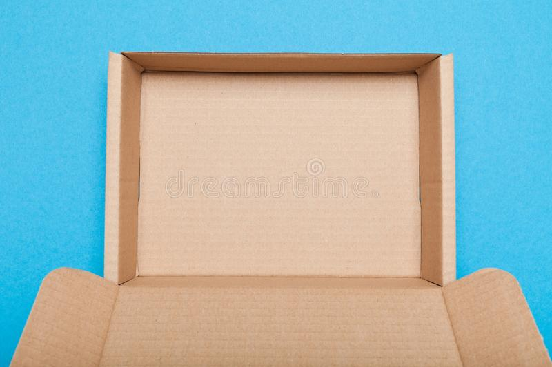 Open brown delivery box, carton cargo containers.  royalty free stock photos