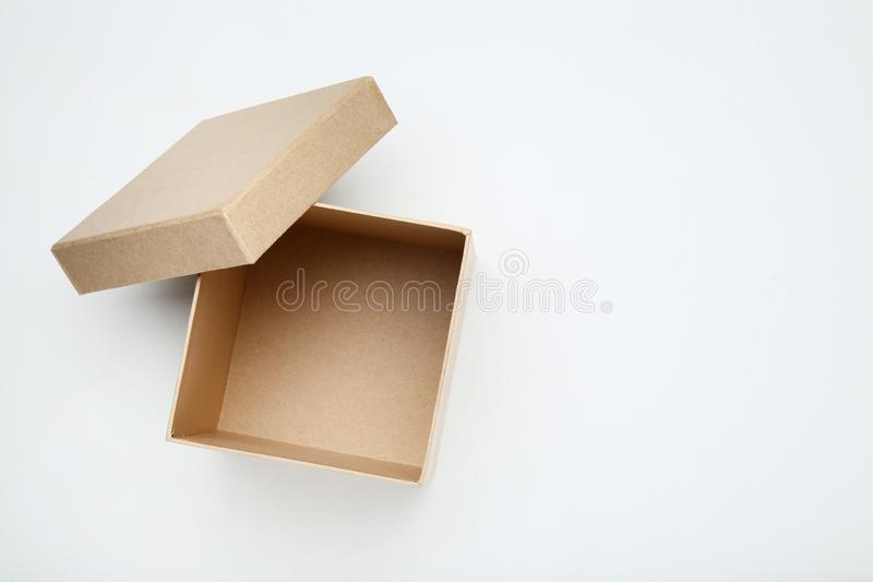 Open brown gift box royalty free stock images