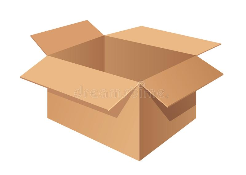 Brown cardboard delivery box isolated on white background. Vector illustration vector illustration