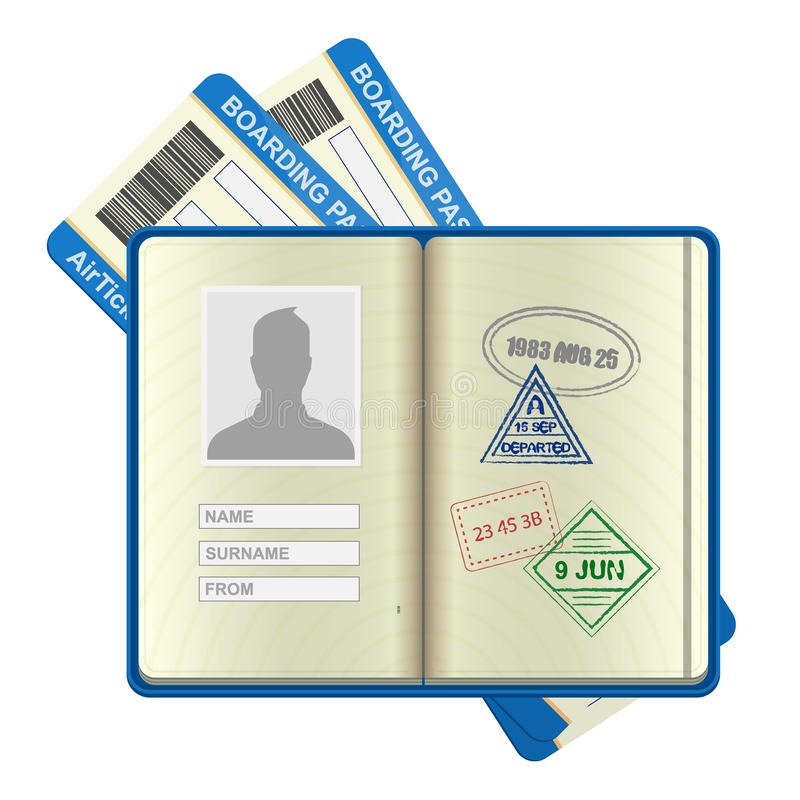 Open buitenlandse paspoort en luchtvaartlijnkaartjes stock illustratie