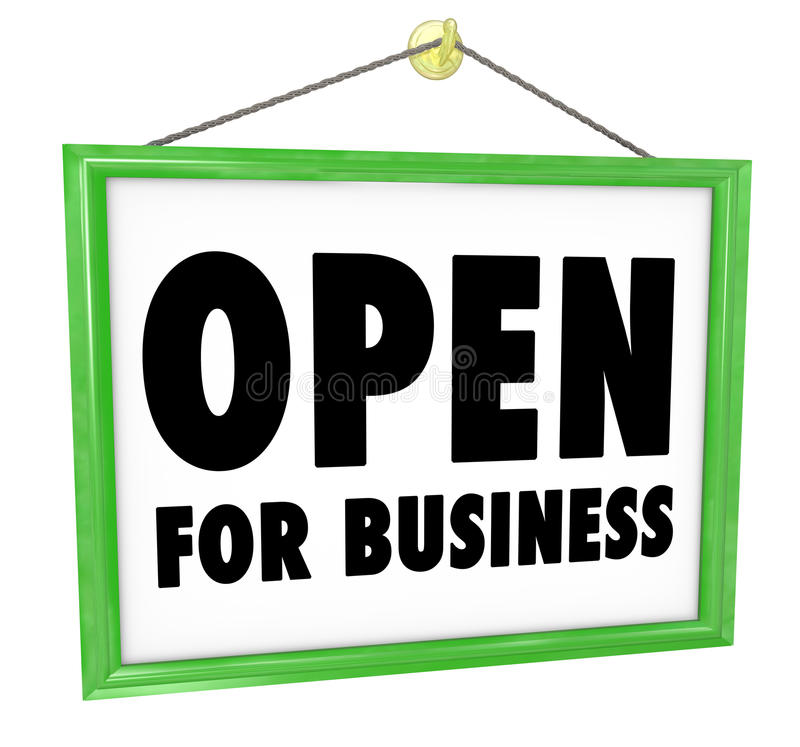 Open for Business Sign Hanging Store Window Door vector illustration