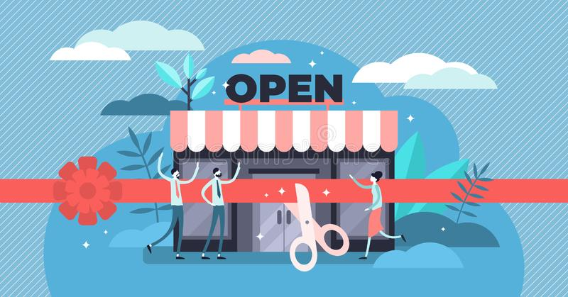 Open business vector illustration. Tiny commerce beginning persons concept. Open business vector illustration. Flat tiny commerce beginning persons concept royalty free illustration