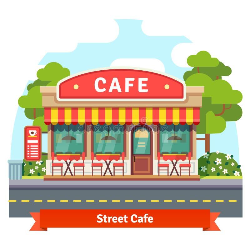 Open cafe building facade vector illustration