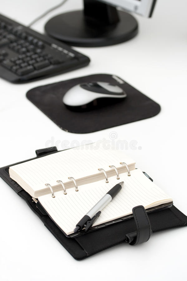 Open calender on office desk royalty free stock photography