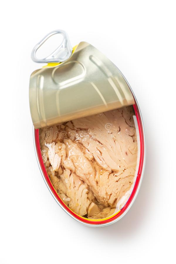 Open can of solid white meat tuna in olive oil stock image