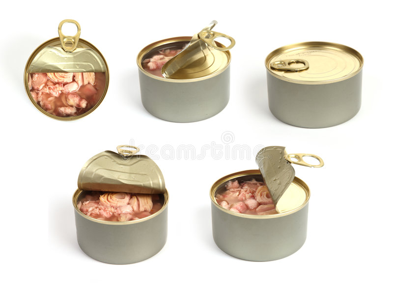 Open can of tuna top view royalty free stock photo