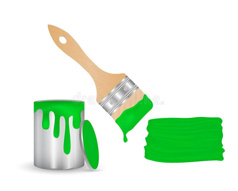 Open cans of paint, brush with dripping paint and brush stroke of green color. On a white background royalty free illustration