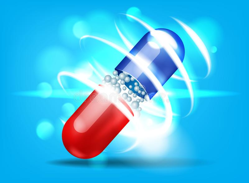Open capsule with bokeh effect on blue background. royalty free illustration