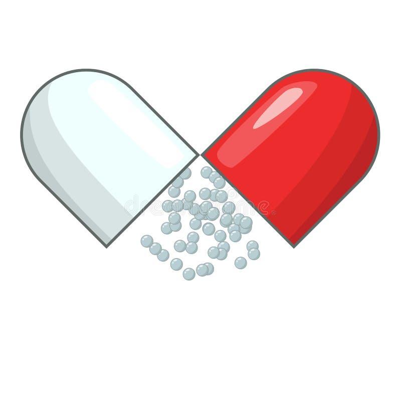 Open capsule pill icon, cartoon style stock illustration