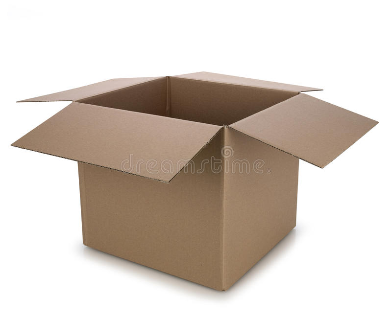 Open cardboard box stock images