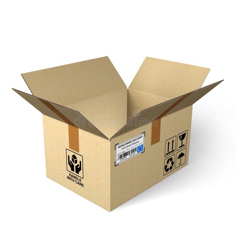 Open cardboard box stock illustration