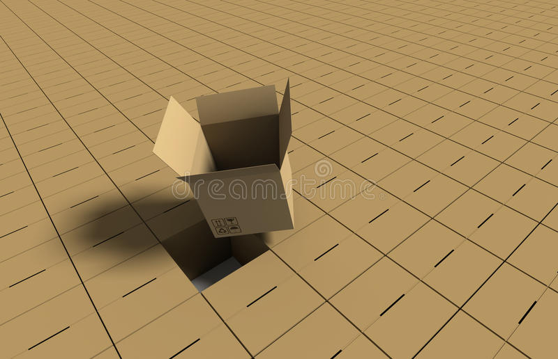 Open cardboard box on background of closed boxes stock image