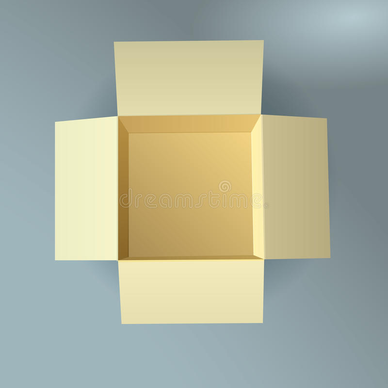 Open cardboard box, corrugated, top view with soft. Shadow. This is file of EPS10 format vector illustration