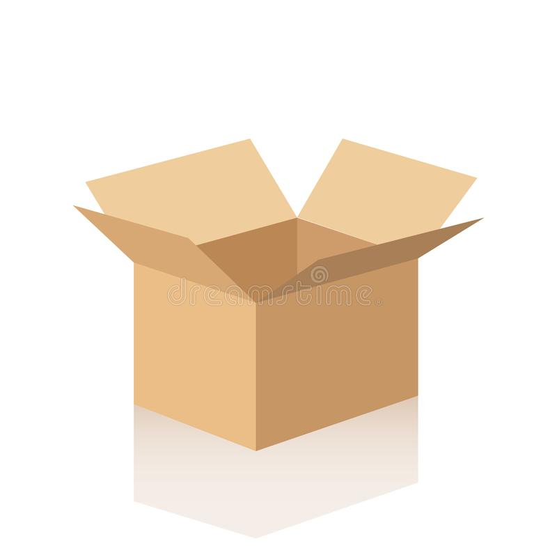 Open cardboard box with reflection. Vector illustration on white background. royalty free illustration