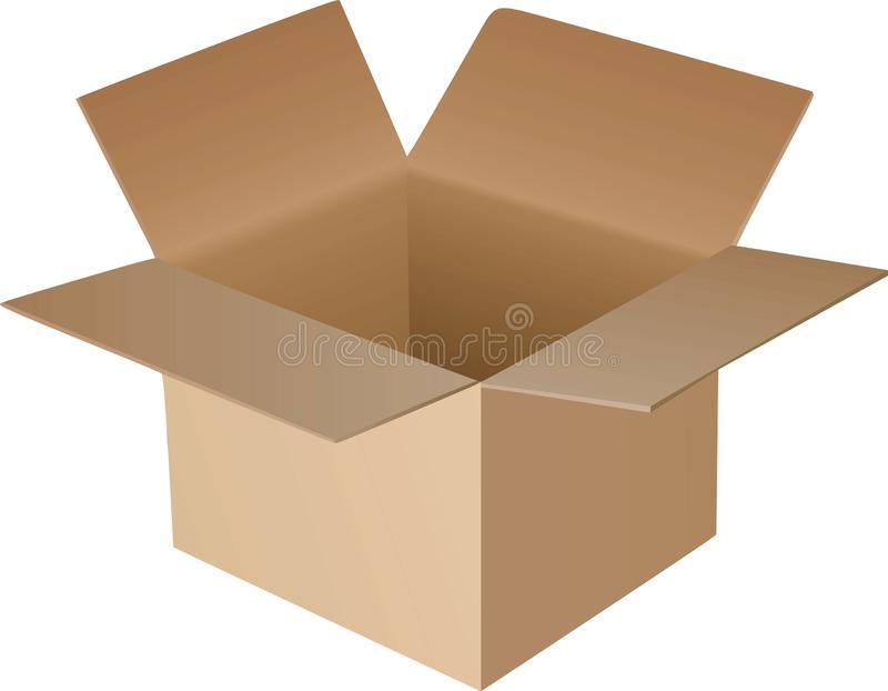Open cardboard box vector illustration
