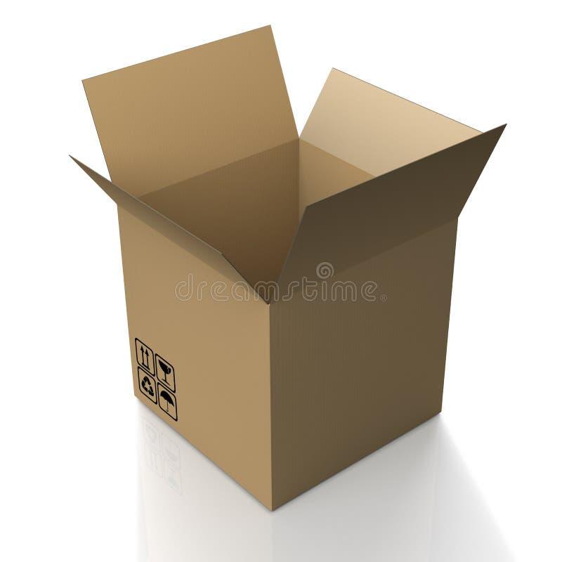 Open cardboard box on white background vector illustration