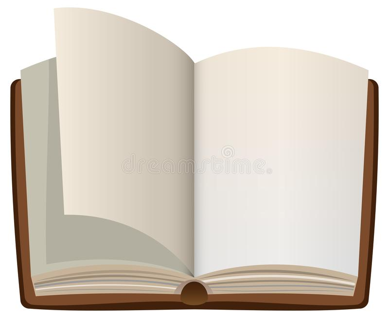 Open cartoon book with empty blank pages stock illustration
