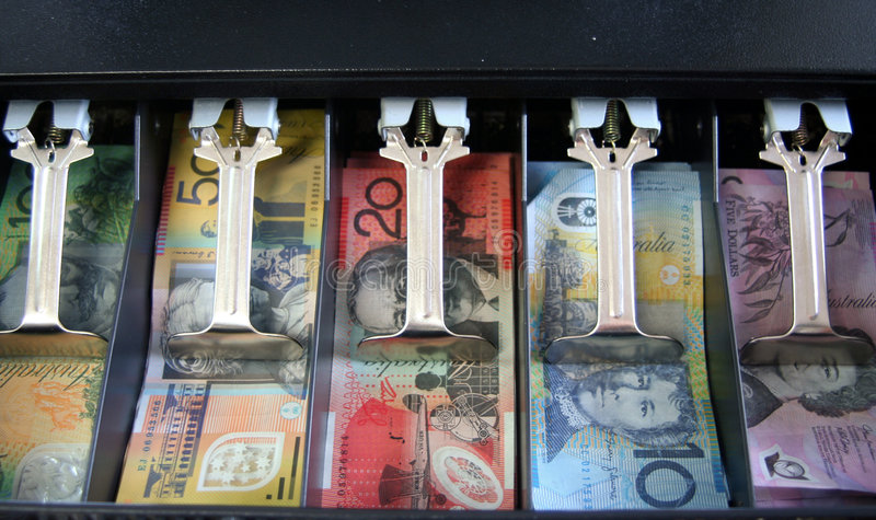 Download Open Cash Register With Australian Currency: Notes Stock Image - Image: 5582207