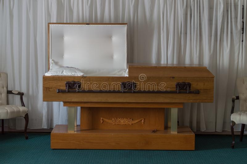 Open Casket Funeral home royalty free stock image