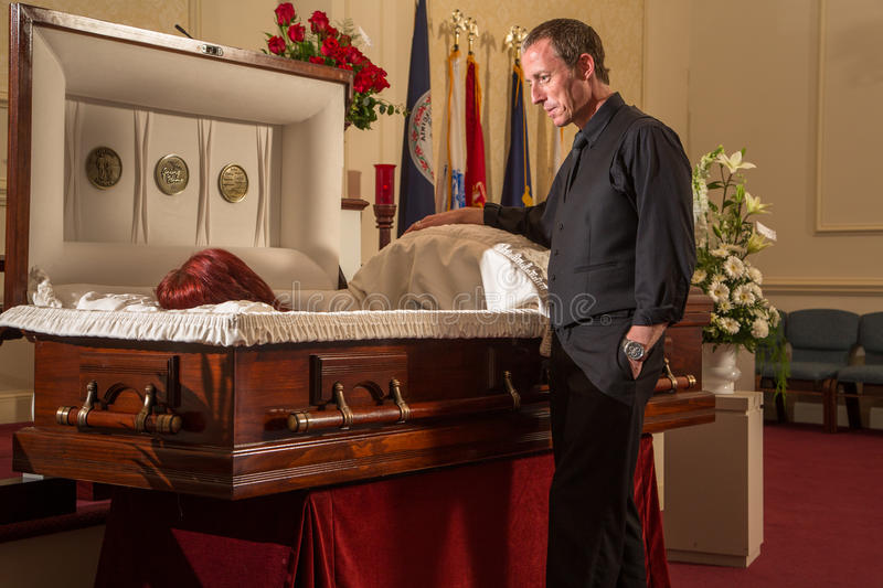 Open casket viewing stock images