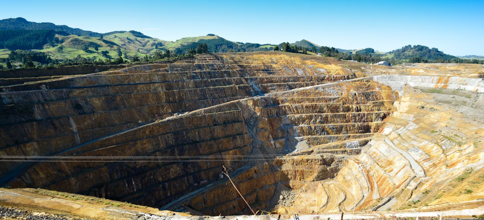 Open Cast Gold Mine. WS - Open cast mining operation at the Martha Hill Gold Mine Waihi, New Zealand stock photo