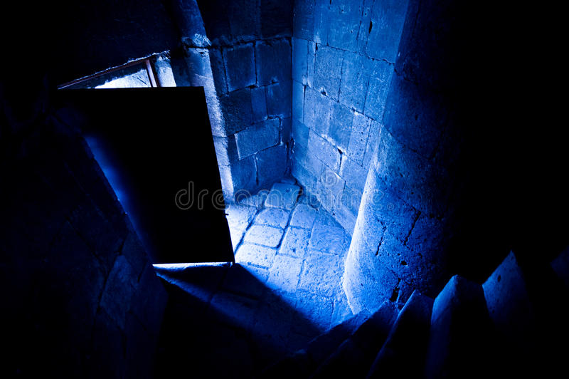 Open Castle Door. Blue toned image royalty free stock image