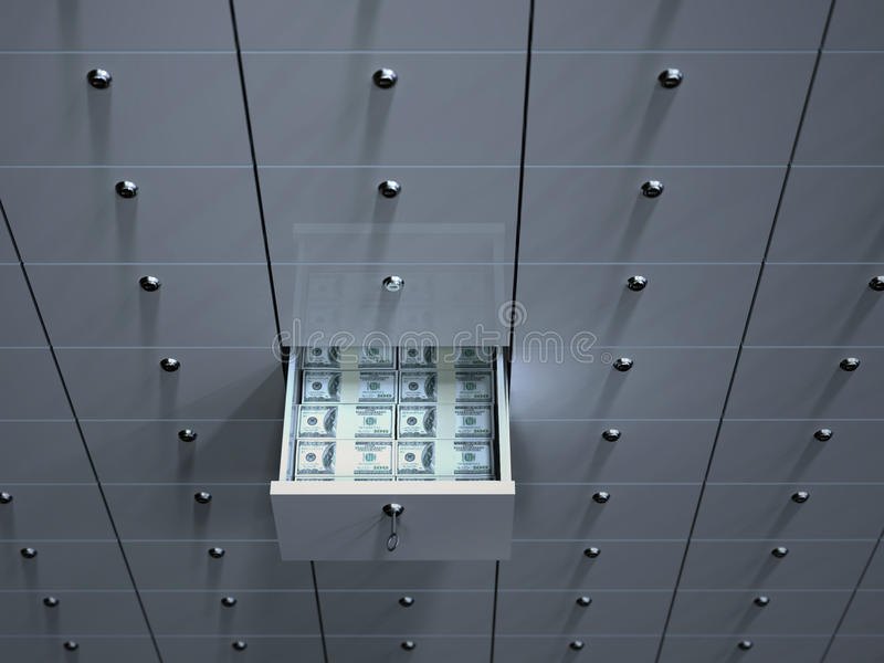 Open cell with money in safety deposit box royalty free illustration