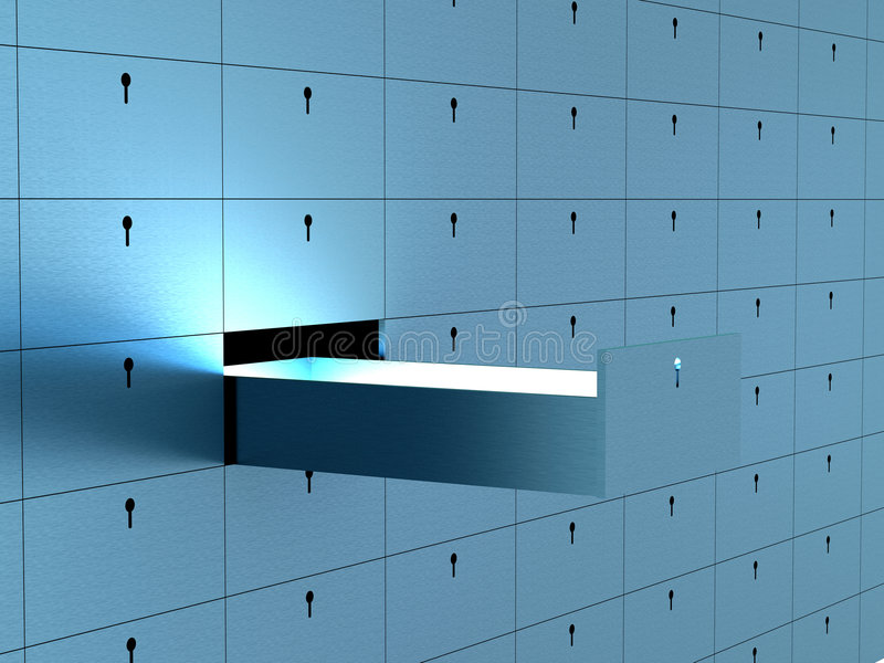 Open cell in safety deposit box. royalty free illustration