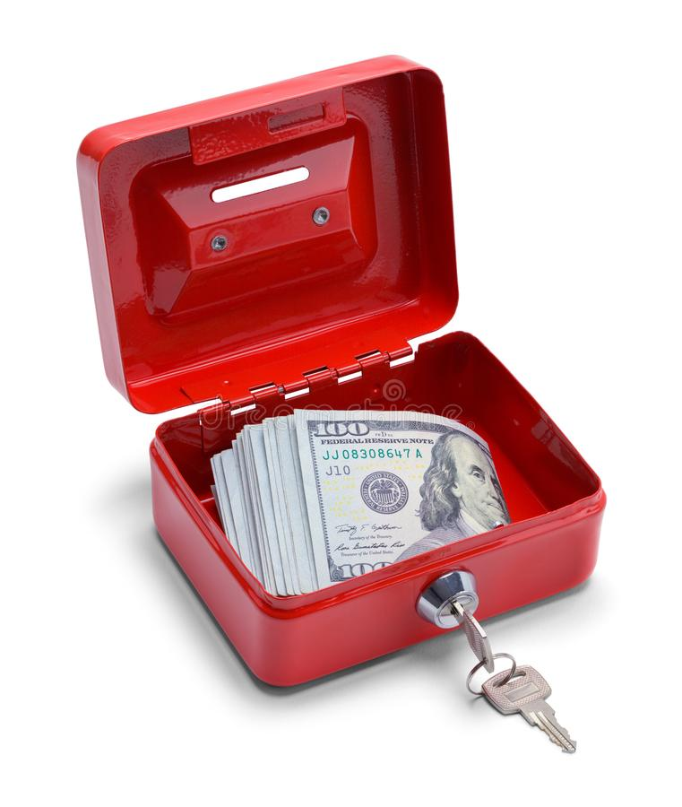 Open Change Box and Money. Red Change Box with Money Inside Isolated on a White Background stock photos
