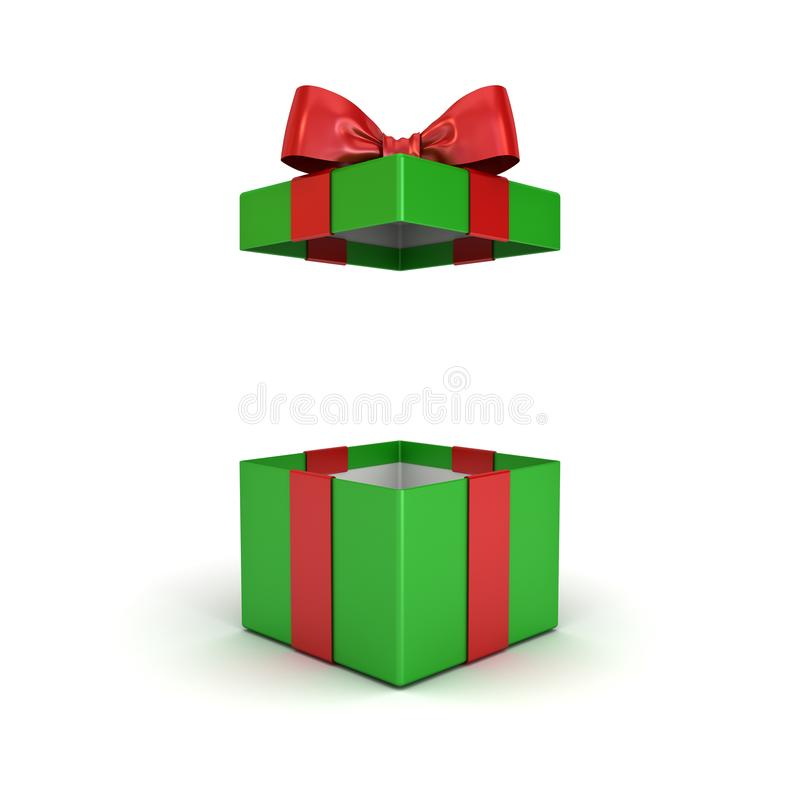 Open christmas gift box or green present box with red ribbon bow isolated on white background stock illustration