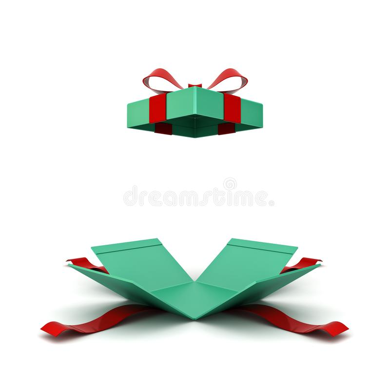 Open christmas gift box or green present box with red ribbon and bow isolated on white background royalty free illustration