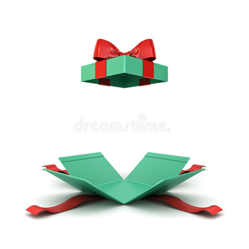 Open christmas gift box or green present box with red ribbon and bow isolated on white background stock illustration